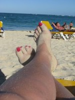 sitting on the Punta Cana beach
